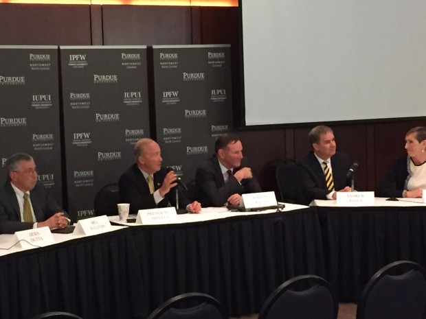 Purdue leaders announce the proposed merger earlier this year. (Chris Morisse Vizza/WBAA News)