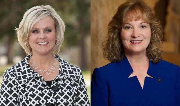 State Superintendent Jennifer McCormick and predecessor Glenda Ritz. (Credit: Photos provided.)