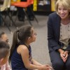 U.S. Education Secretary Betsy DeVos talks with students at St. Stephens Indian School on the Wind River Reservation in Stephens, Wyoming, on September 12. (Photo courtesy: USED)