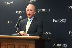 Purdue President Mitch Daniels discussed the new Boiler Affordability Grant at a press conference in Indianapolis on Tuesday. Nov. 21, 2017. (Eric Weddle/WFYI News)