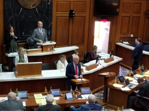 Rep. Bob Behning speaks to the chamber at the state house. (Jeanie Lindsay/IPB News)