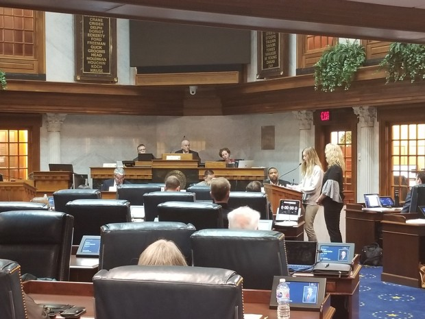 Paige and her Mom Keri Moore, testify in the Senate Education and Career Development Committee on House Bill 1420. (Jeanie Lindsay/IPB News)