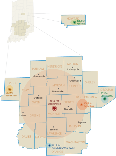 Radio coverage map in southern Indiana