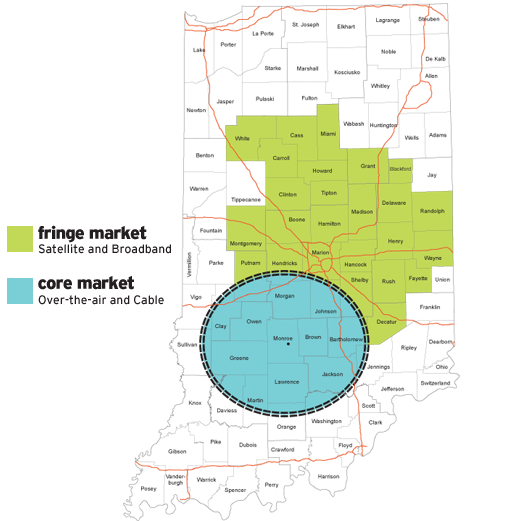 TV coverage map in southern Indiana