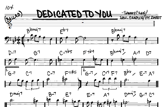 """Sheet music for the song """"Dedicated To You"""""""