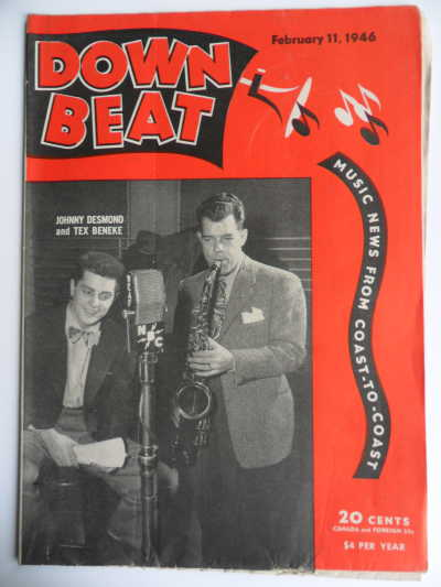 Singer Johnny Desmond and saxophonist Tex Beneke on the cover of a February 1946 issue of DownBeat Magazine.