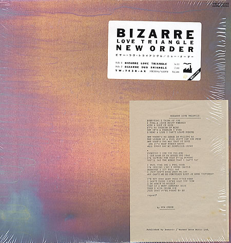 """photo of the vinyl sleeve for New Order's single """"Bizarre Love Triangle."""""""
