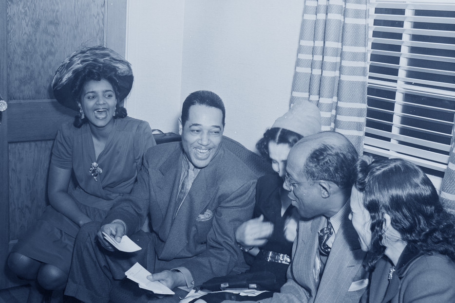Duke Ellington and friends at the home of William P. Gottlieb in Maryland in 1941. (From the William P. Gottlieb collection at the Library of Congress).