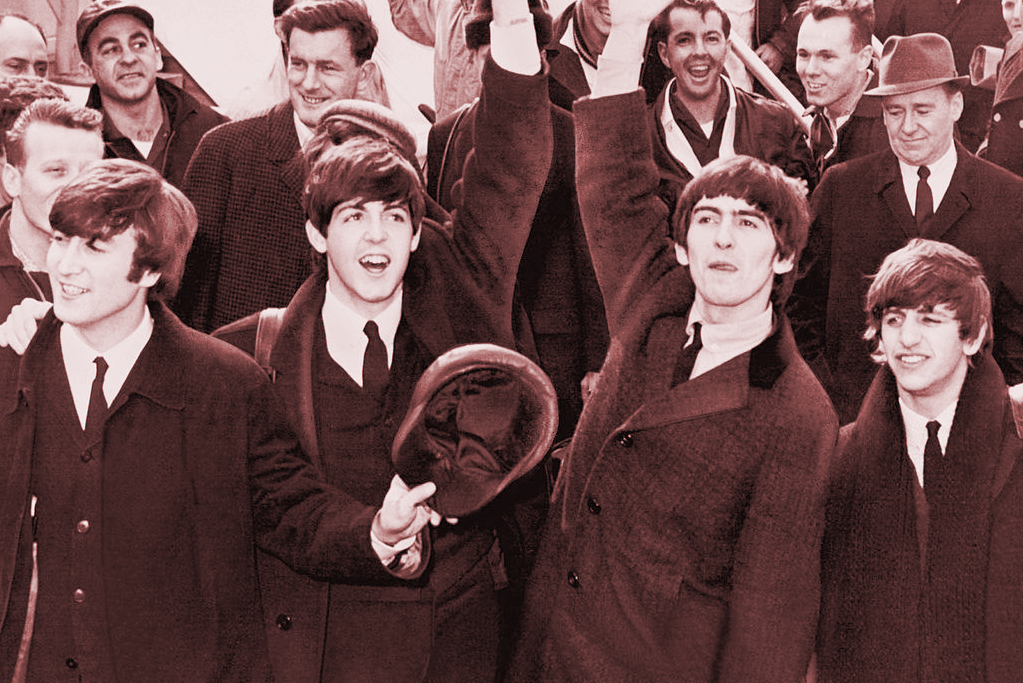 The Beatles arriving in New York City, 1964, just before the changed the landscape of American Popular Music.
