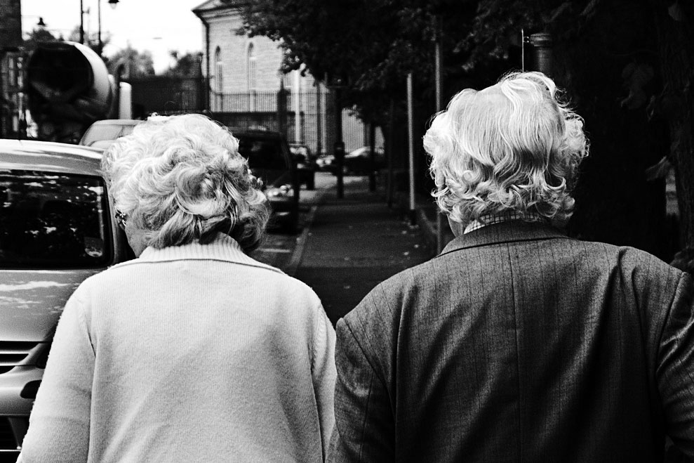 Older couple with grey hair