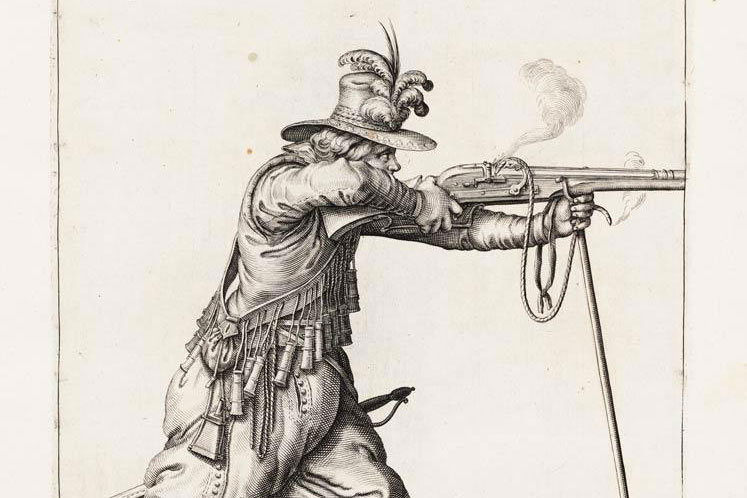 an illustration of a man shooting a 17th century musket