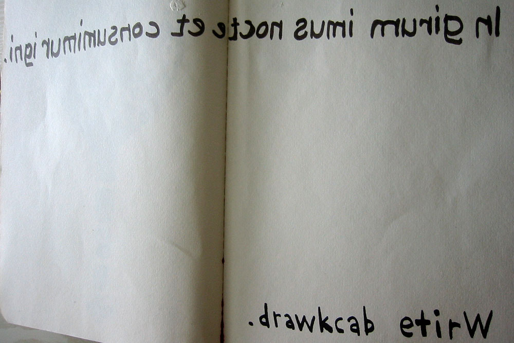 """a journal with a latin palindrome and the words """"drawkcab etirw"""""""