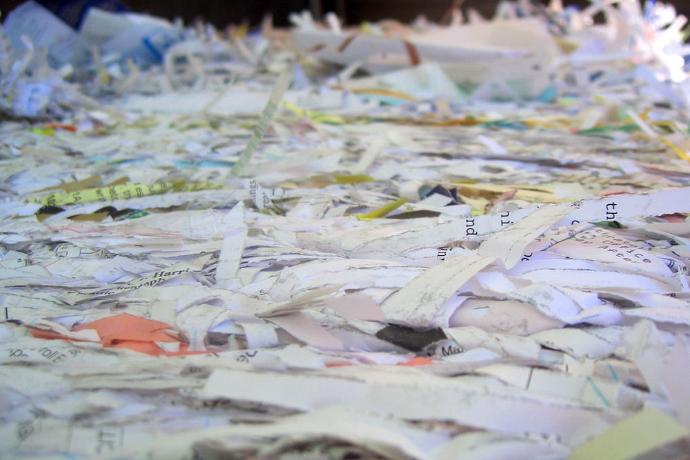 a pile of shredded recycling paper