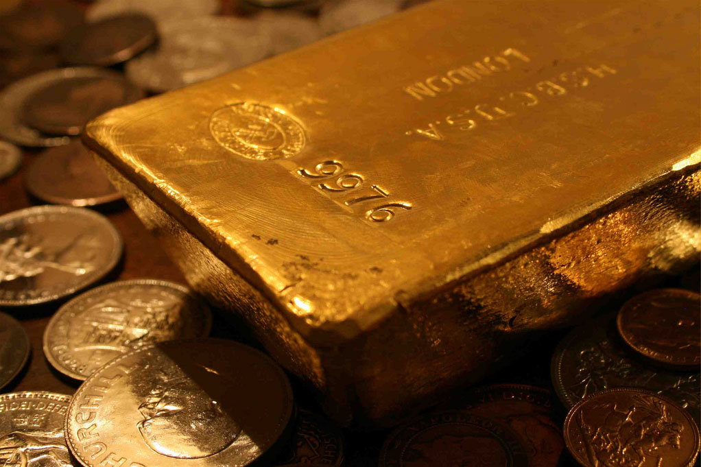 Gold bar and coins.