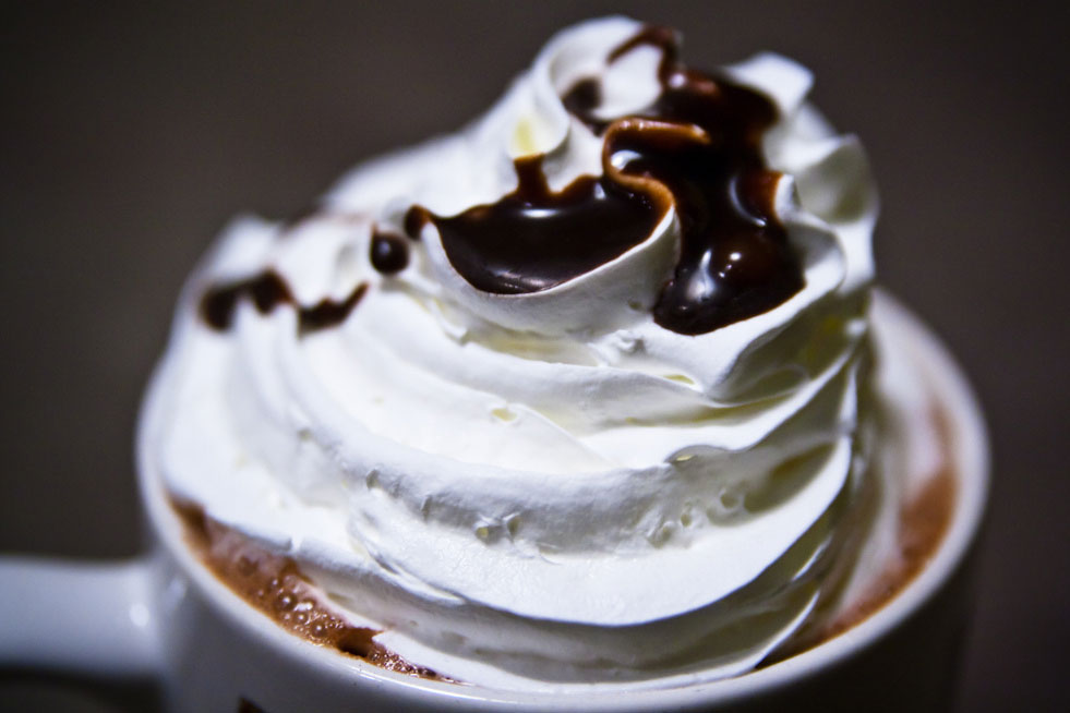 whipped cream with chocolate and fudge