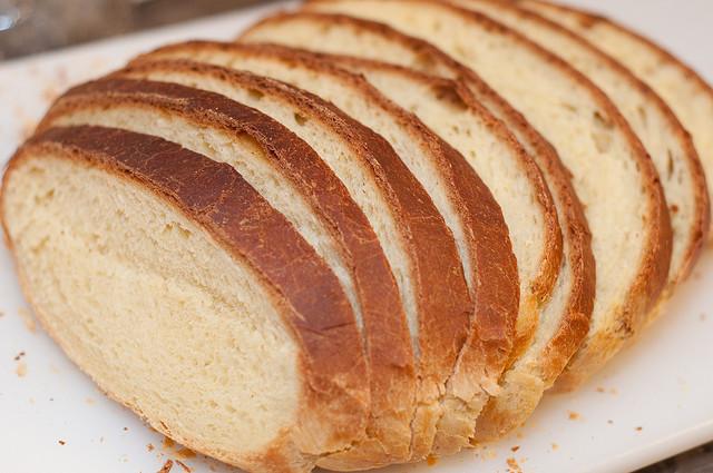 sliced white bread on a cutting board