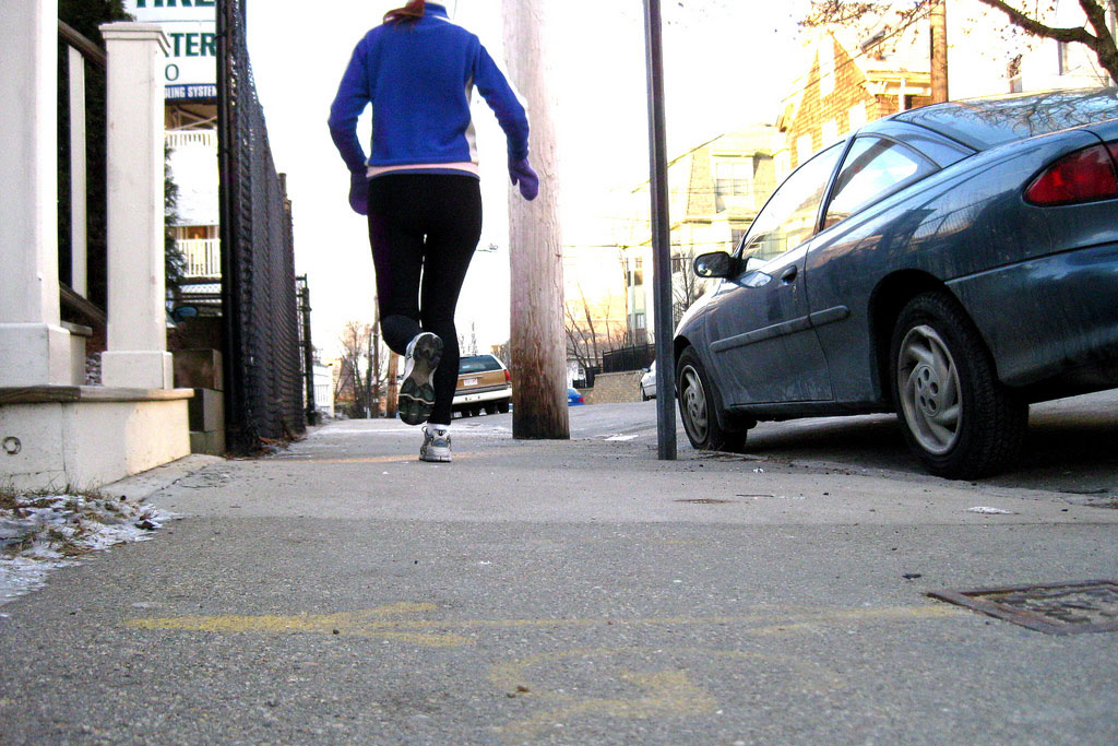 woman running on the street