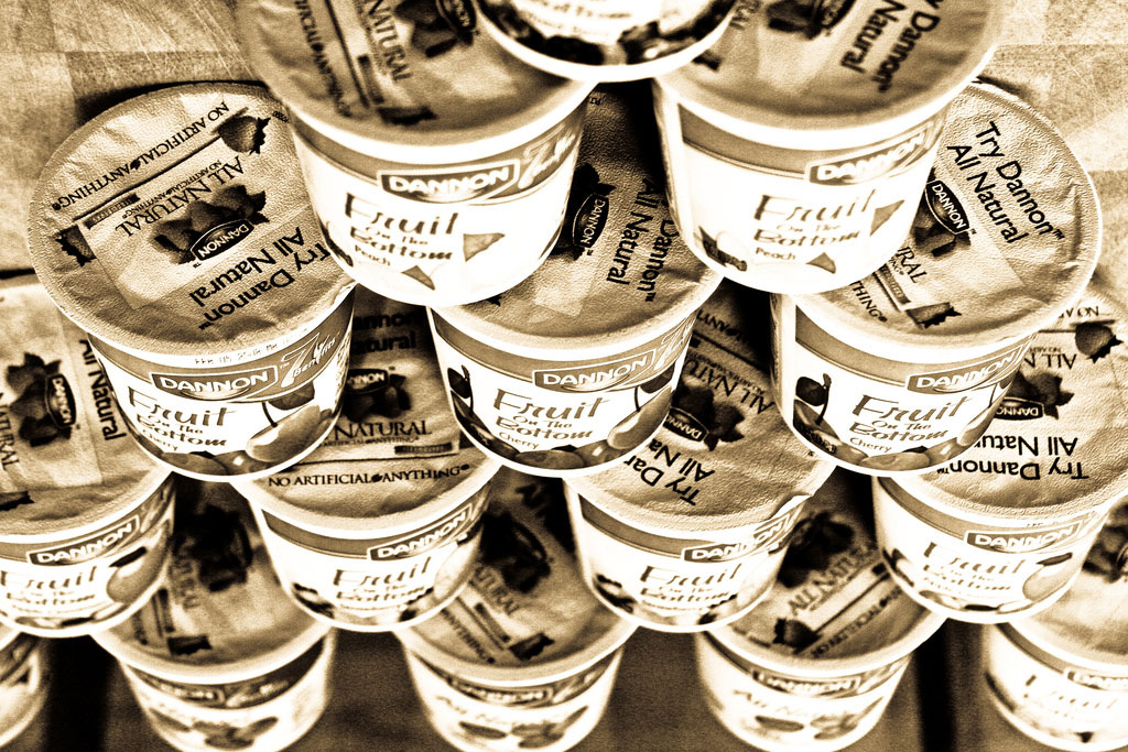 yogurt containers stacked in a pyramid