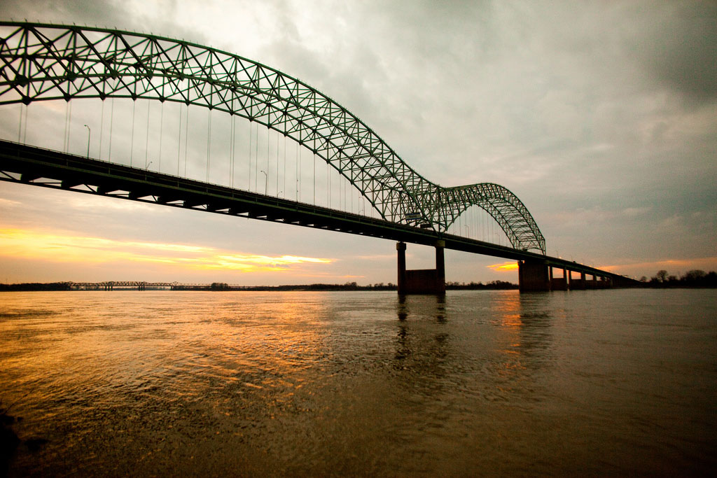 Mississippi River with a sunset
