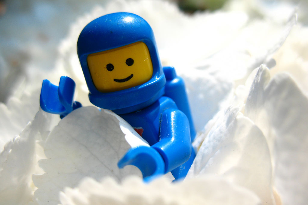 lego spaceman in ice