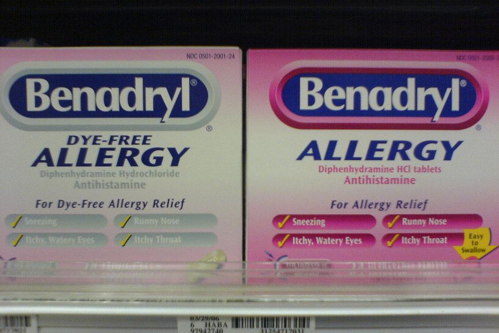 benadryl boxes on a shelf