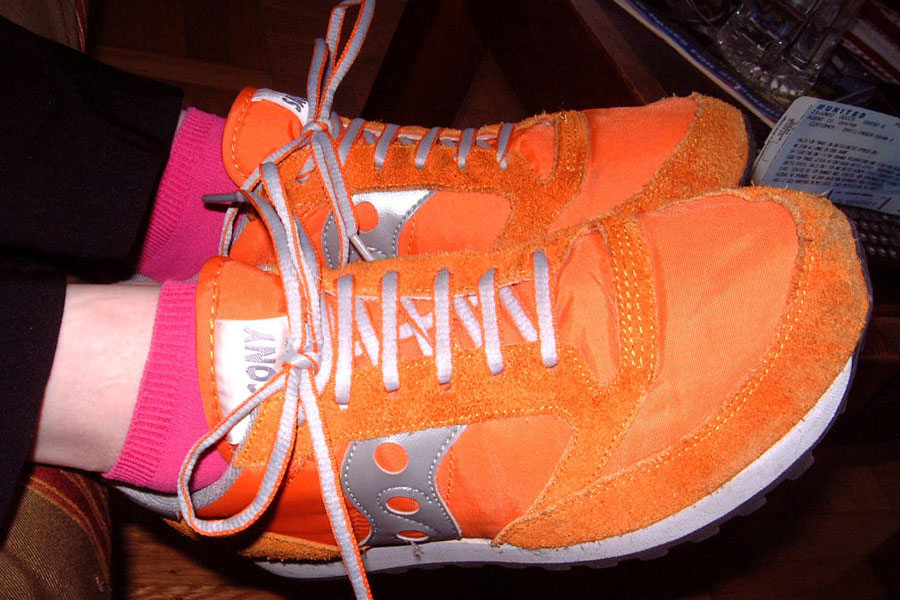 orange and pink running shoes