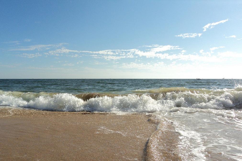 ocean with waves against the beach