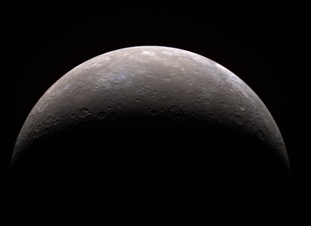 A crescent Mercury as seen from the approaching MESSENGER spacecraft.
