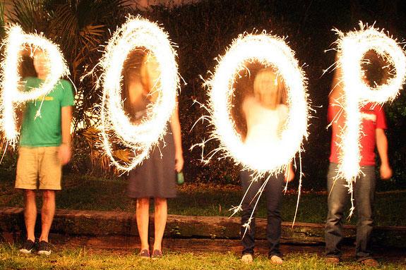 people spelling poop out in sparklers