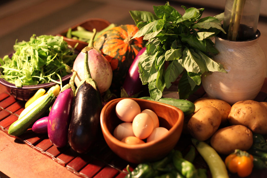 A table spread with fresh vegetables and herbs.