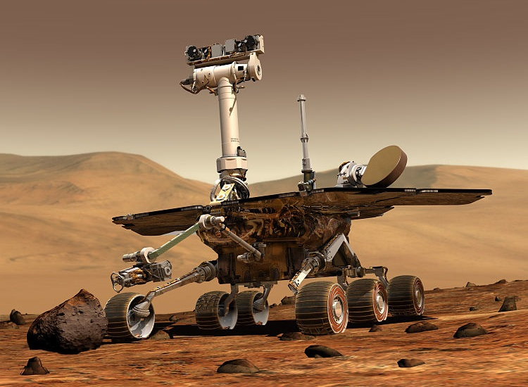 Computer generated image of a Mars rover