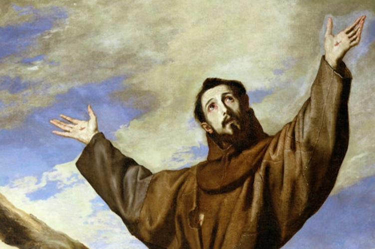 Painted depiction of St. Francis of Assisi with lifted hands