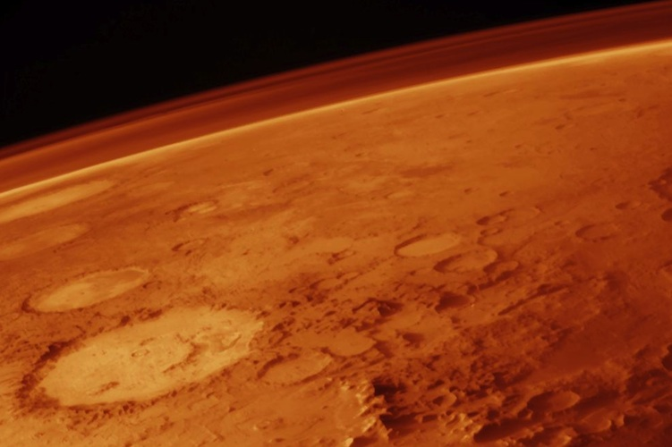 The martian horizon as seen from orbit around the red planet
