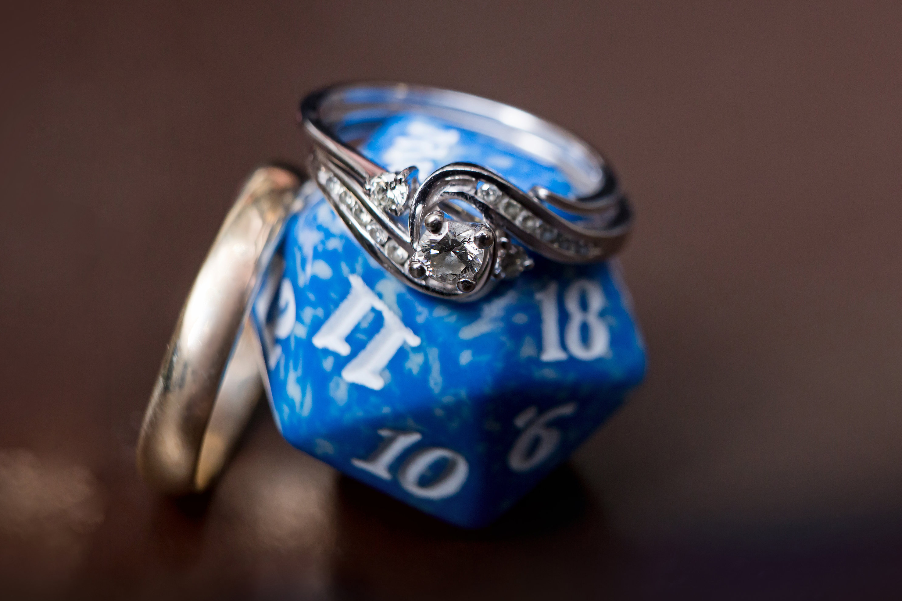 wedding rings and dice