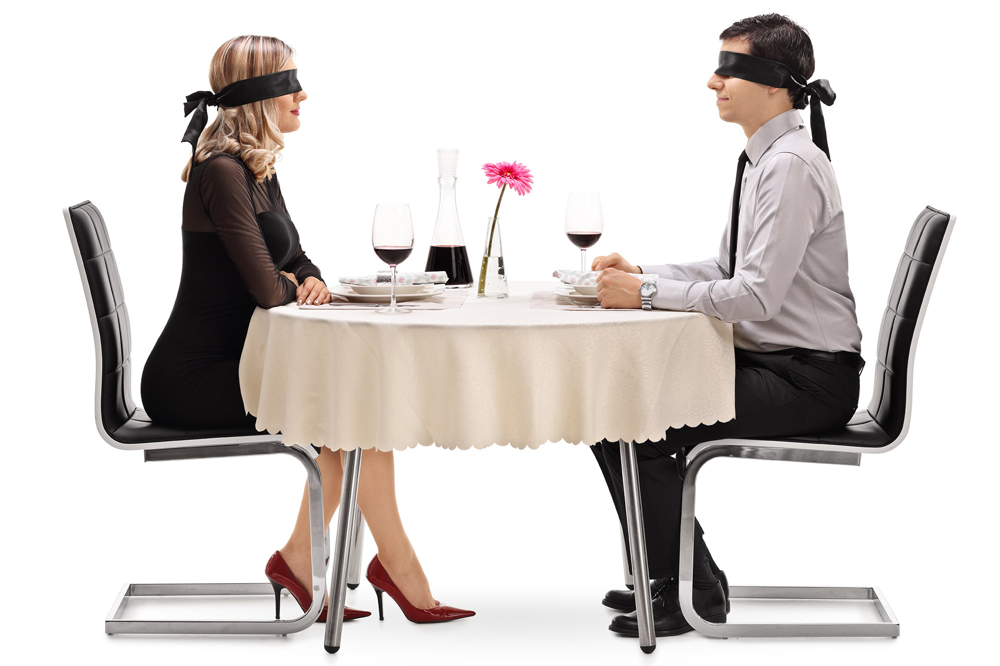 blindfolded couple on date
