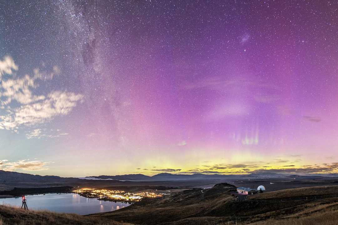 The polar lights over a small town in New Zealand