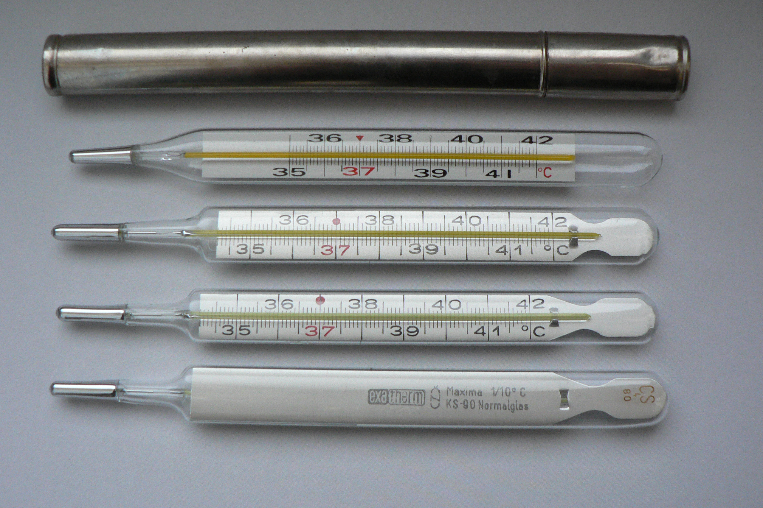 Large, old-fashioned mercury thermometers