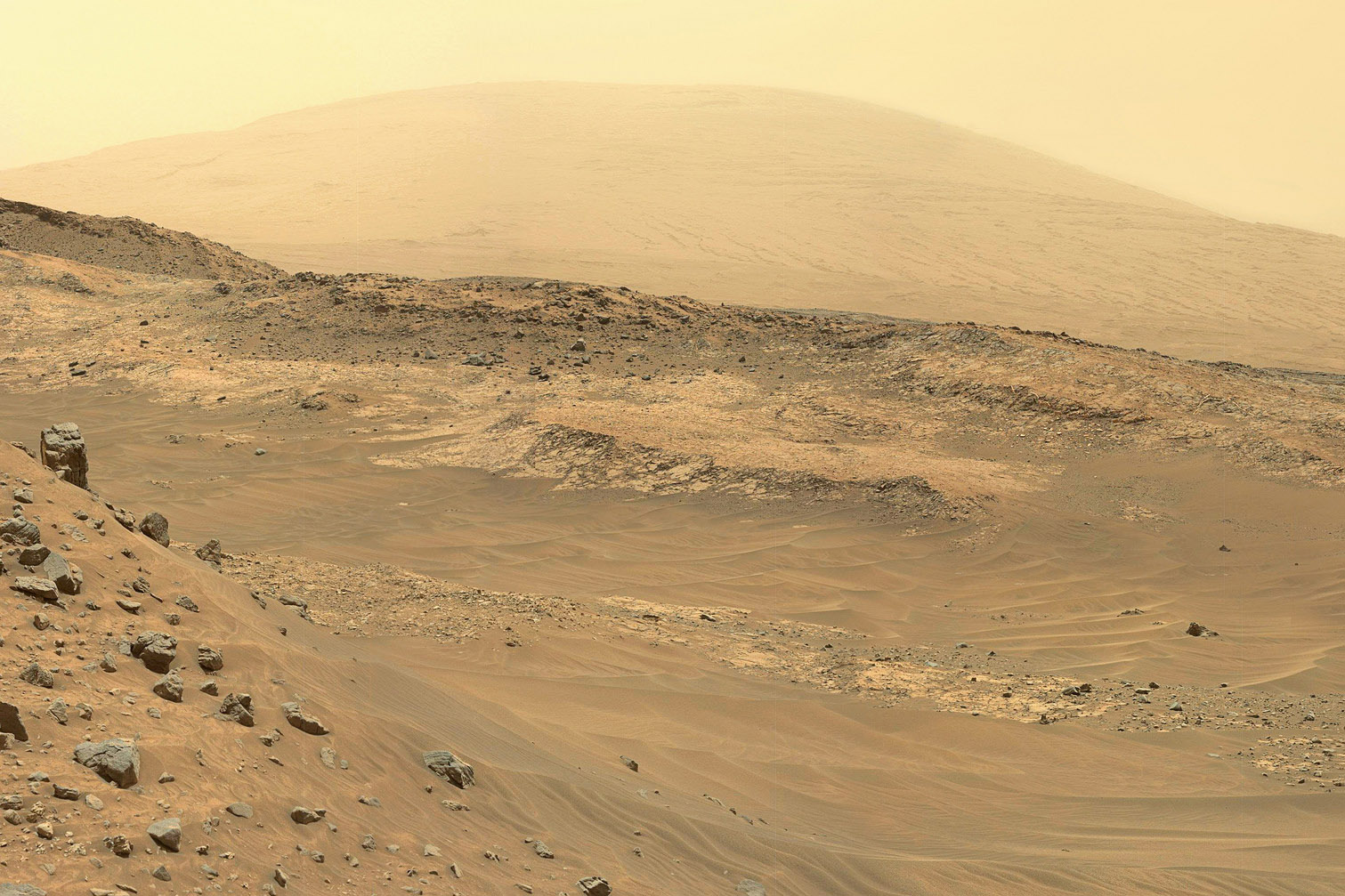 A composite image of the mountains and rocks of Mars