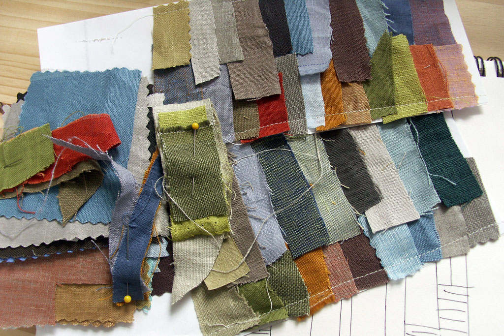 An image of multiple colors of fabric swatches.