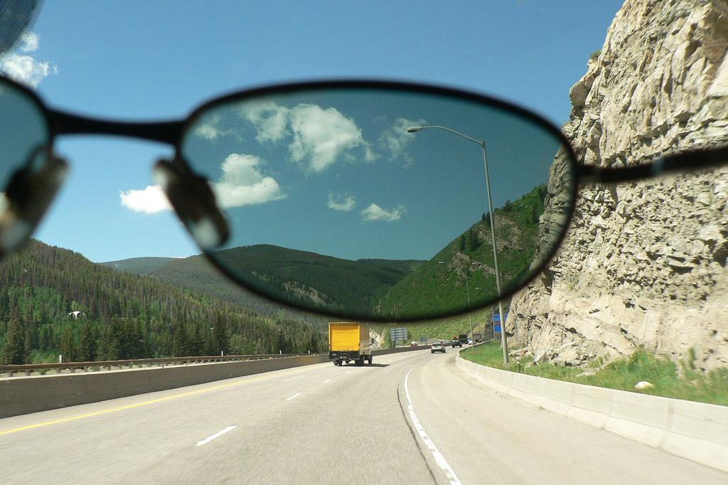 sunglasses superimposed over a landscape.