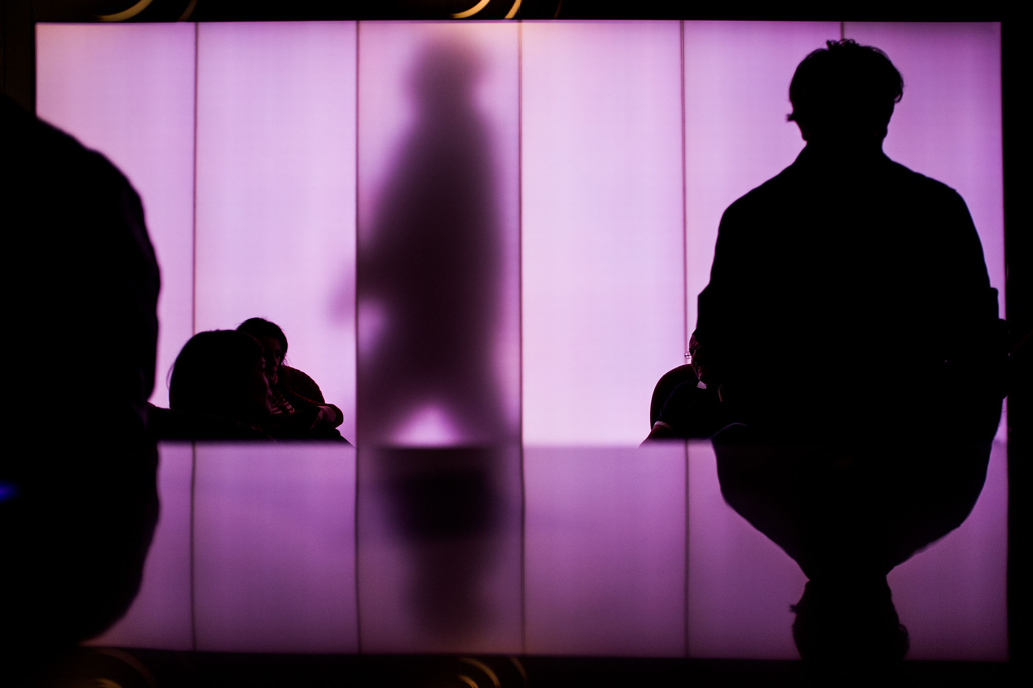 four shadows in a purple room