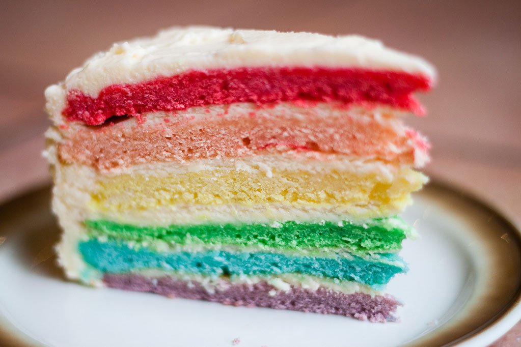 a cake with rainbow layers