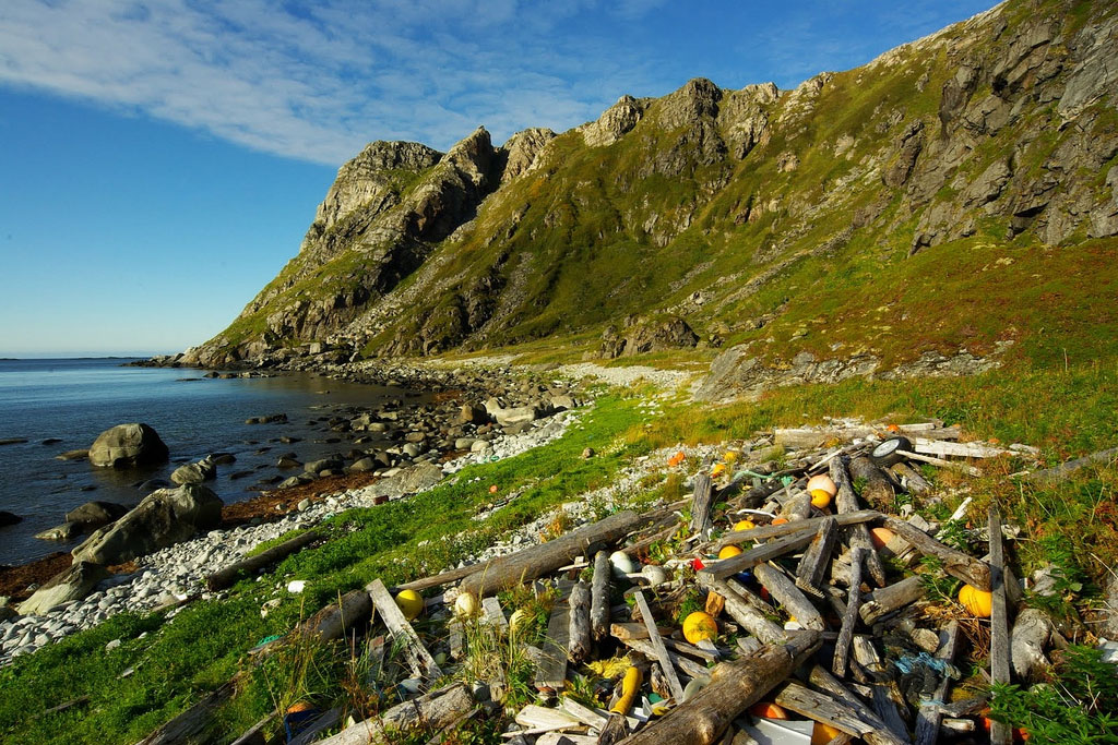 On this beach in Norway, plastic pollution from there, as well as Russia, and Denmark were found by the photographer. (Bo Eide, Flickr)