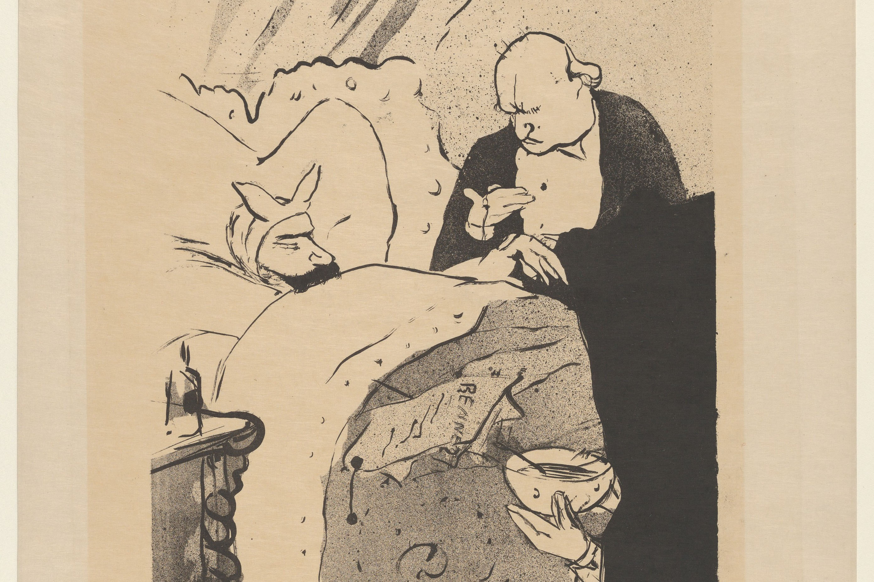 "The image is ""Carnot Is Sick!"" by Henri de Toulouse-Lautrec. Printed in 1893 (Courtesy of the Metropolitan Museum of Art Open Access)"