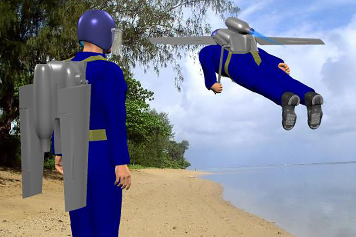 A computer-generated image of what future jetpack flight might look like. (Anthony Appleyard, Wikimedia Commons)