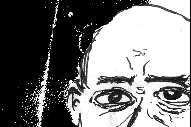 a black and white drawing of the top of Arnold Schoenberg's face