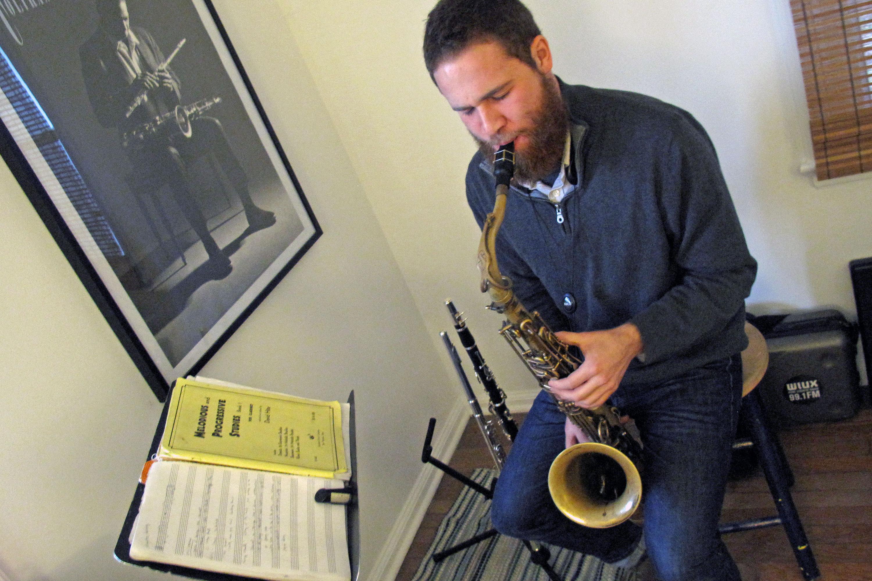 Hunter Diamond plays tenor saxophone