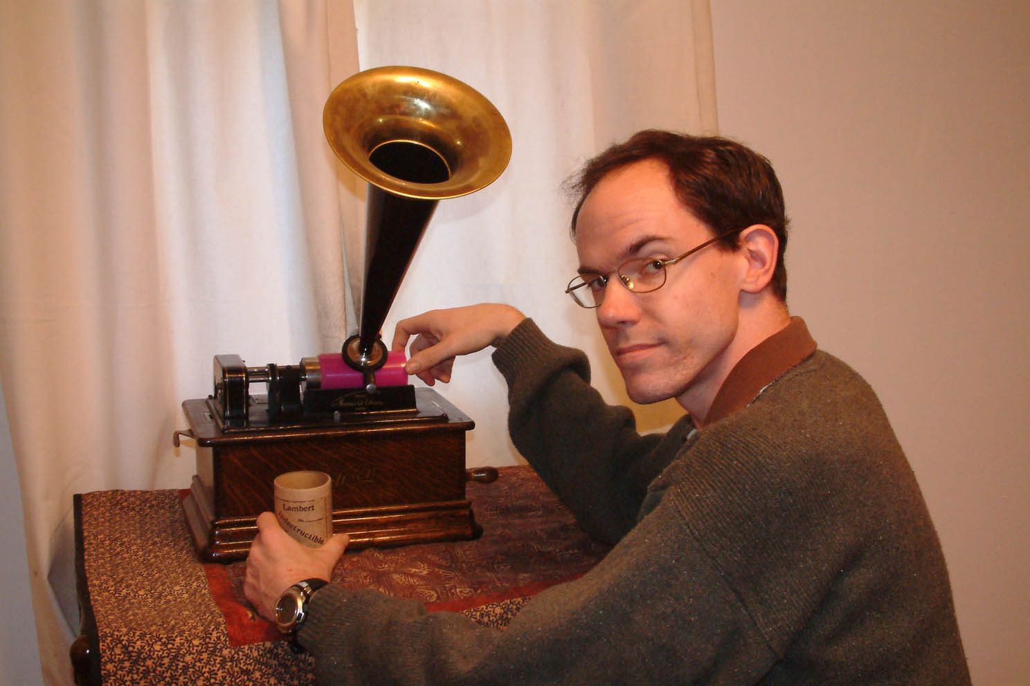 feaster with gramophone