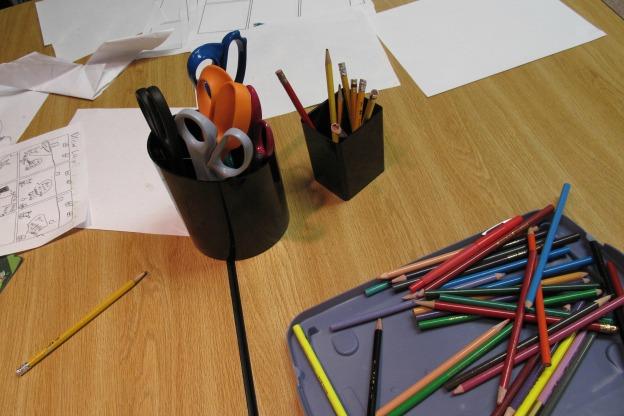 pencils, paper, scissors