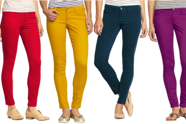 four pairs of skinny jeans